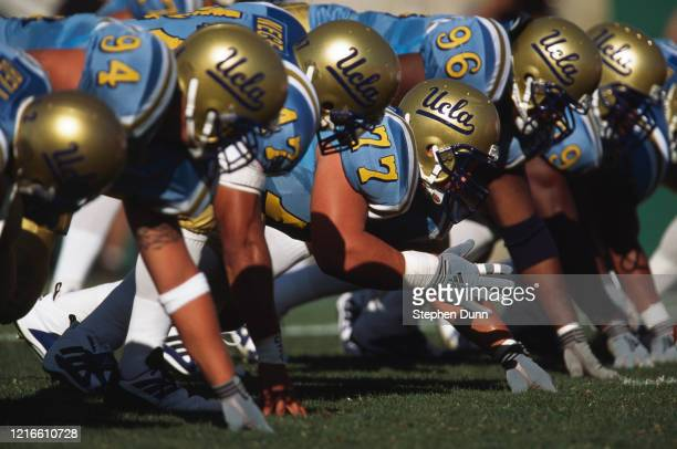 Rodney Leisle, Defensive Linebacker for the University of California, Los Angeles UCLA Bruins prepares for the snap on the line of scrimmage against...