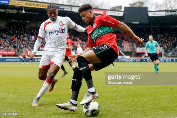 Rodney Lopes Cabral of Telstar Arnaut Groeneveld of NEC Nijmegen during the Dutch Jupiler League match between NEC Nijmegen v Telstar at the Goffert...