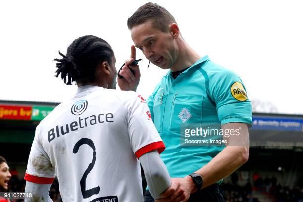 Rodney Lopes Cabral of Telstar referee Christaan Bax during the Dutch Jupiler League match between NEC Nijmegen v Telstar at the Goffert Stadium on...