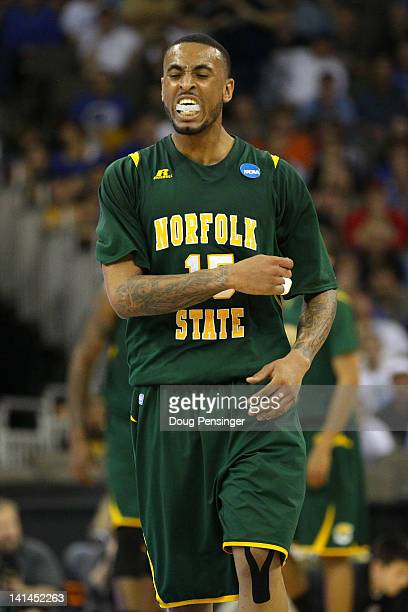 Rodney McCauley of the Norfolk State Spartans reacts in the first half against the Missouri Tigers during the second round of the 2012 NCAA Men's...