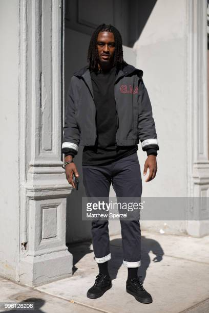 Rodney McCloud is seen on the street attending Men's New York Fashion Week wearing Gustav on July 10 2018 in New York City
