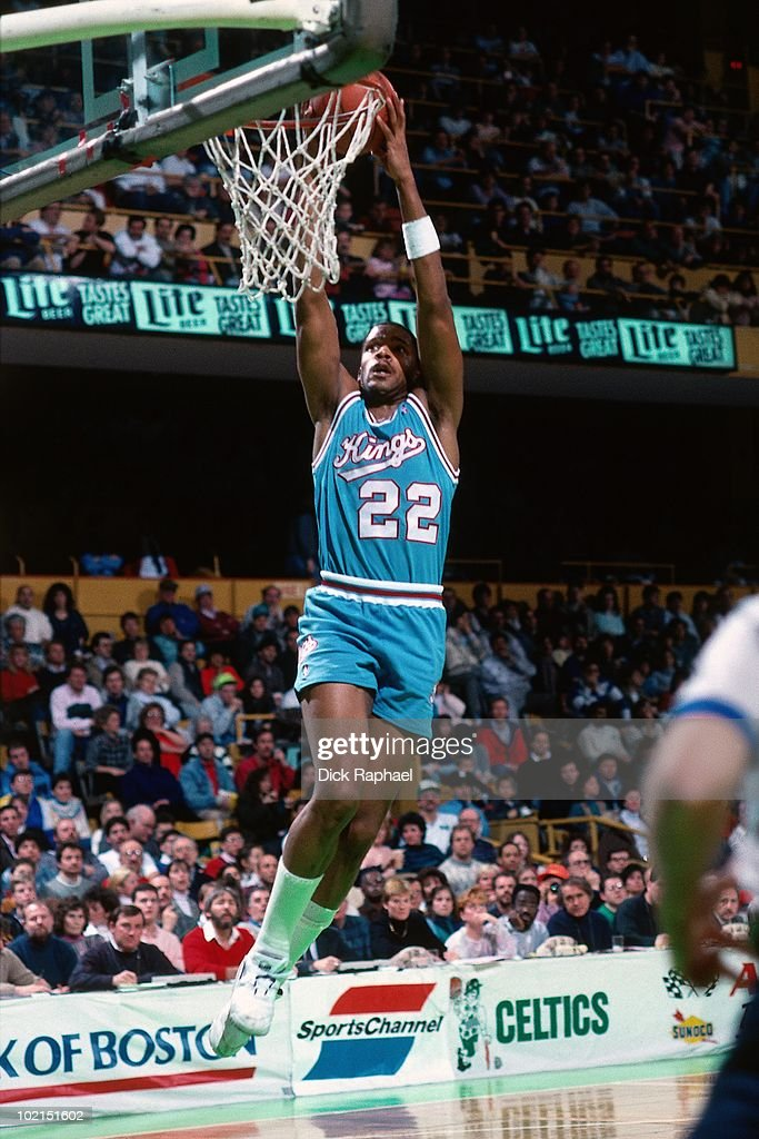 Rodney McCray #22 of the Sacramento Kings dunks against the Boston Celtics during a game played in 1990 at the Boston Garden in Boston, Massachusetts.