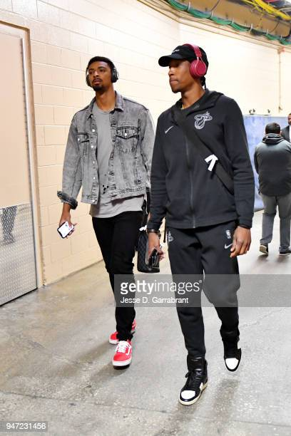 Rodney McGruder and Josh Richardson of the Miami Heat arrive to the arena prior to Game Two of Round One of the 2018 NBA Playoffs against the...