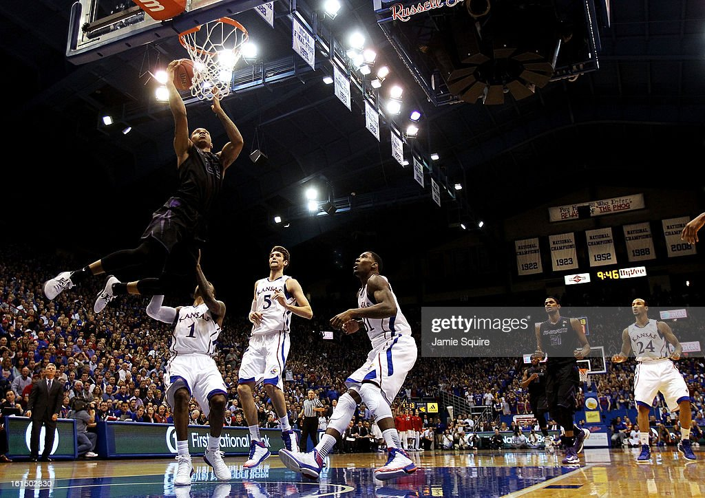 Rodney McGruder #22 of the Kansas State Wildcats scores on a fast break during the game against the Kansas Jayhawks at Allen Fieldhouse on February 11, 2013 in Lawrence, Kansas.