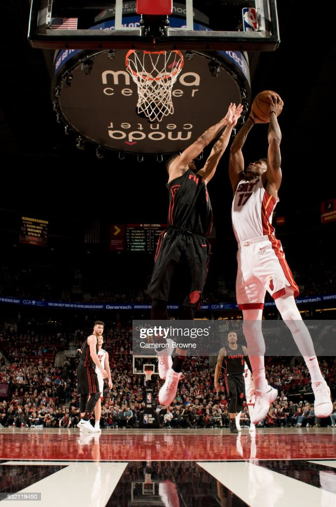 Rodney McGruder #17 of the Miami Heat handles the ball against the Portland Trail Blazers on March 12, 2018 at the Moda Center Arena in Portland, Oregon.