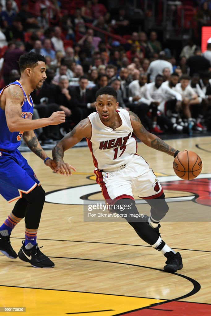 Rodney McGruder #17 of the Miami Heat in action during a NBA game against the New York Knicks on March 31, 2017 at AmericanAirlines Arena in Miami, Florida.