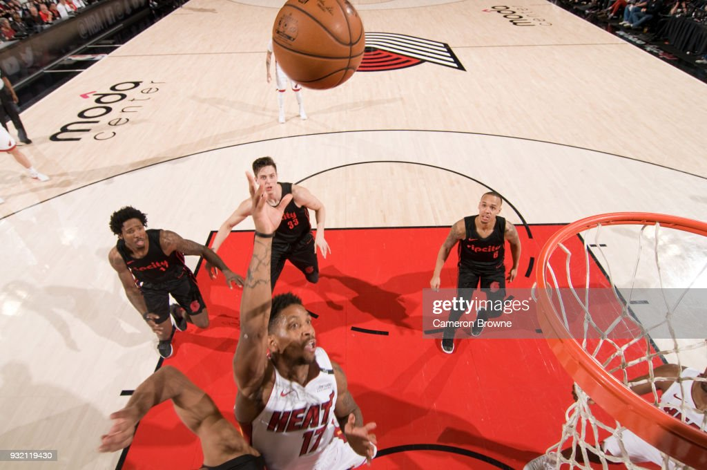 Rodney McGruder #17 of the Miami Heat shoots the ball against the Portland Trail Blazers on March 12, 2018 at the Moda Center Arena in Portland, Oregon.
