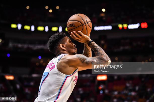 Rodney McGruder of the Miami Heat shoots the ball during the game against the Oklahoma City Thunder at American Airlines Arena on April 9 2018 in...