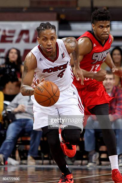 Rodney McGruder of the Sioux Falls Skyforce dribbles the ball up court against the Toronto Raptors 905 at the Sanford Pentagon on January 12 2016 in...