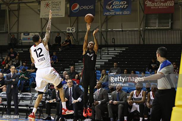 CRUZ CA JANUARY 7 Rodney McGruder of the Sioux Falls Skyforce shoots against the Raptors during an NBA DLeague game on JANUARY 7 2016 in SANTA CRUZ...
