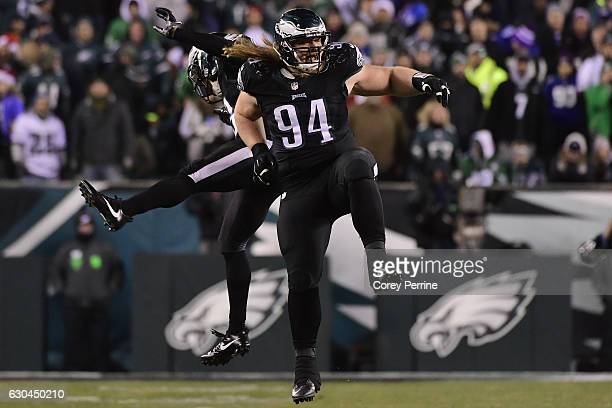 Rodney McLeod celebrates a fourth quarter interception with Beau Allen, both of the Philadelphia Eagles, against the New York Giants at Lincoln...