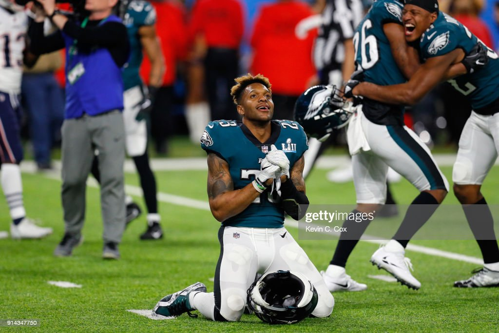 Rodney McLeod #23 of the Philadelphia Eagles celebrates after his teams 41-33 win over the New England Patriots in Super Bowl LII at U.S. Bank Stadium on February 4, 2018 in Minneapolis, Minnesota. The Philadelphia Eagles defeated the New England Patriots 41-33.