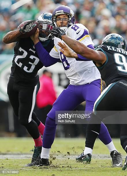 Rodney McLeod of the Philadelphia Eagles forces the fumble on Sam Bradford of the Minnesota Vikings as Mychal Kendricks of the Philadelphia Eagles...