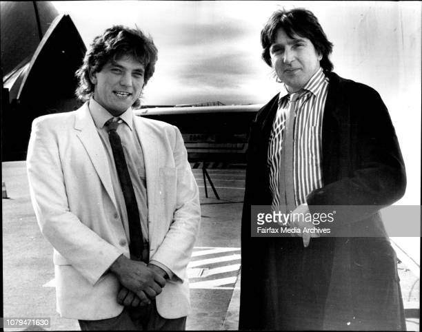 Rodney Monk and David Humphries at the Opera House next to the white board which is were they will coordinate the painting of a mural July 07 1983