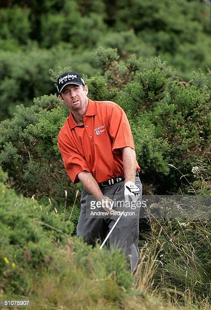 Rodney Pampling of Australia plays a shot from the rough on the 11th hole during the second round of the 133rd Open Championship at the Royal Troon...