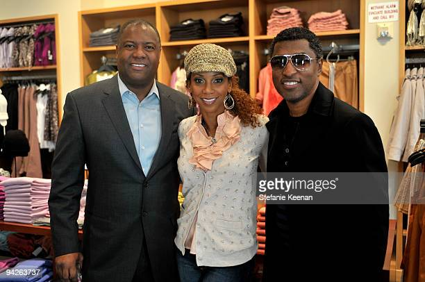 Rodney Peete actress Holly Robinson Peete and recording artist Kenneth Babyface Edmonds attend the HollyRod Foundation and JCrew private shopping...