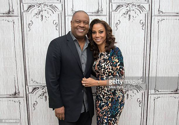 Rodney Peete and Holly Robinson Peete attends the AOL Build Speaker Series to discuss For Peete's Sake at AOL Studios In New York on March 18 2016 in...