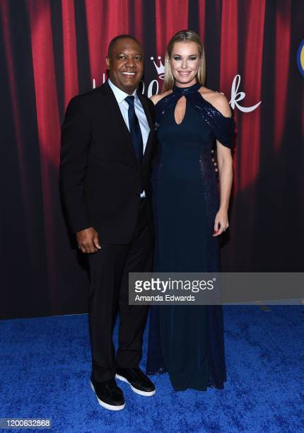 Rodney Peete and Rebecca Romijn arrive at the 2020 American Rescue Dog Show at Barker Hangar on January 19 2020 in Santa Monica California