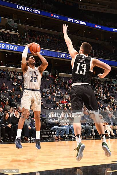 Rodney Pryor of the Georgetown Hoyas takes a jump shot during a college basketball game against the USC Upstate Spartans at the Verizon Center on...
