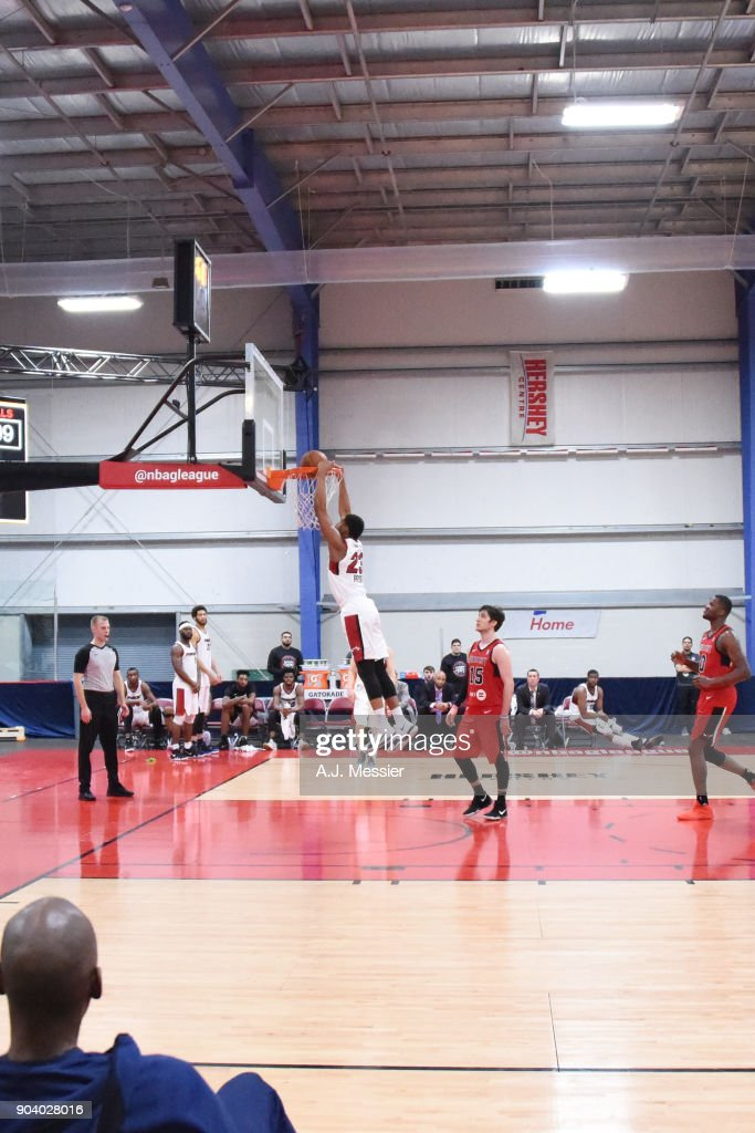 Rodney Pryor #23 of the Sioux Falls Skyforce dunks the ball during the game against the Windy City Bulls at the NBA G League Showcase Game 13 on January 11, 2018 at the Hershey Centre in Mississauga, Ontario Canada.