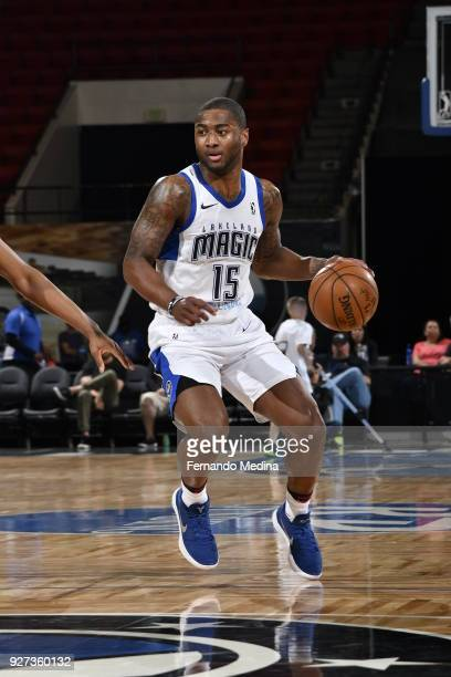 Rodney Purvis of the Lakeland Magic dribbles against the Westchester Knicks during the game on March 4 2018 at RP Funding Center in Lakeland Florida...
