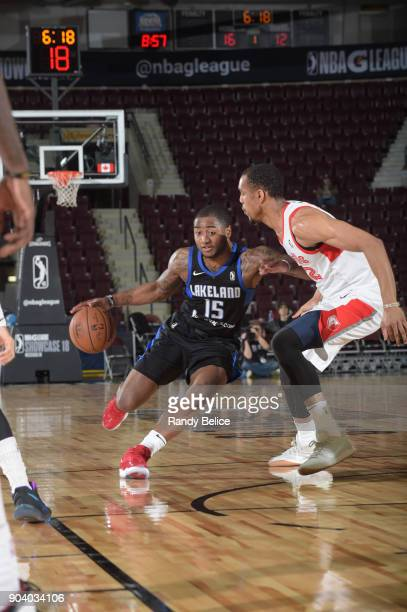 Rodney Purvis of the Lakeland Magic handles the ball during the game against the Memphis Hustle at the NBA G League Showcase Game 14 on January 11...