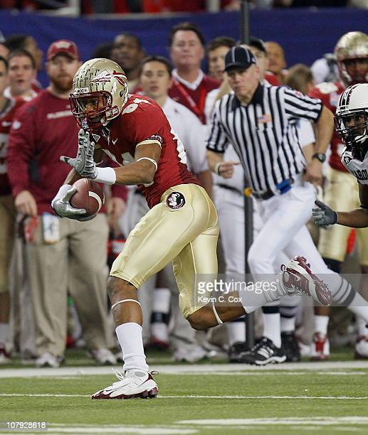 Rodney Smith of the Florida State Seminoles against the South Carolina Gamecocks during the 2010 ChickfilA Bowl at Georgia Dome on December 31 2010...