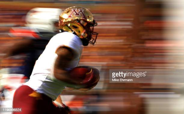 Rodney Smith of the Minnesota Golden Gophers rushes during the 2020 Outback Bowl against the Auburn Tigers at Raymond James Stadium on January 01...