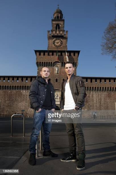 Rodney Sneijder of FC Utrecht Wesley Sneijder of Internazionale during a photo shoot on December 12 2011 at the Castello Sforzesco di Milano in the...