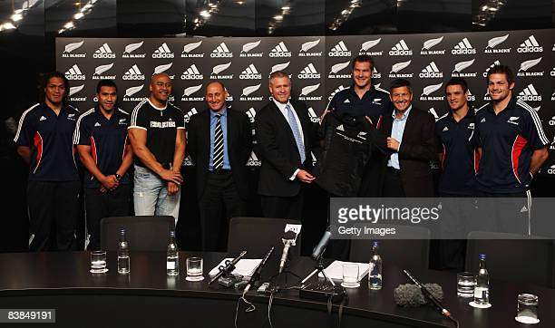 Rodney So'oialo, Mils Muliaina, Jonah Lomu, Jock Hobbs Chairman of the NZRU, Steve Tew NZRU CEO, Ali Williams, Herbert Hainer CEO and Chairman of...