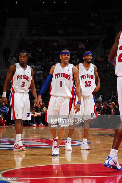 Rodney Stuckey Allen Iverson and Richard Hamilton of the Detroit Pistons during a game against the Atlanta Hawk at the Palace of Auburn Hills on...