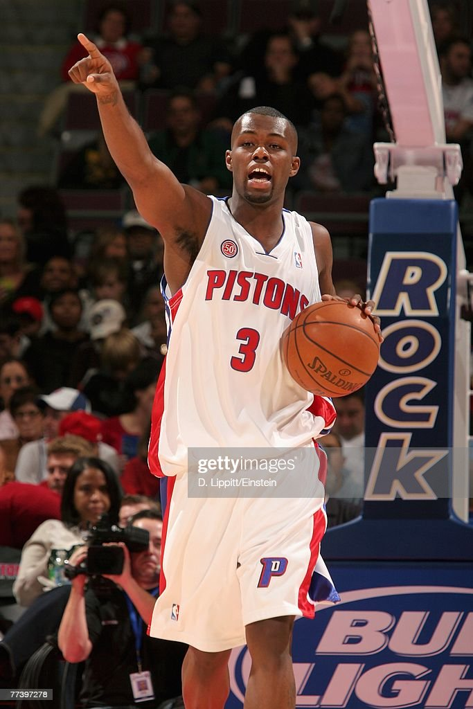 Rodney Stuckey #3 of the Detroit Pistons calls a play during the game against the Utah Jazz at The Palace of Auburn Hills on October 12, 2007 in Auburn Hills, Michigan. The Jazz won 100-85.