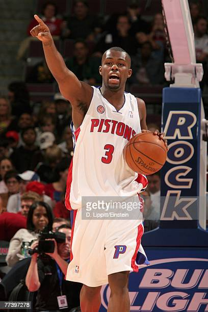 Rodney Stuckey of the Detroit Pistons calls a play during the game against the Utah Jazz at The Palace of Auburn Hills on October 12 2007 in Auburn...