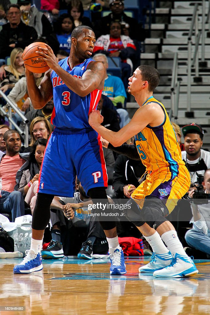 Rodney Stuckey #3 of the Detroit Pistons controls the ball against Austin Rivers #25 of the New Orleans Hornets on March 1, 2013 at the New Orleans Arena in New Orleans, Louisiana.