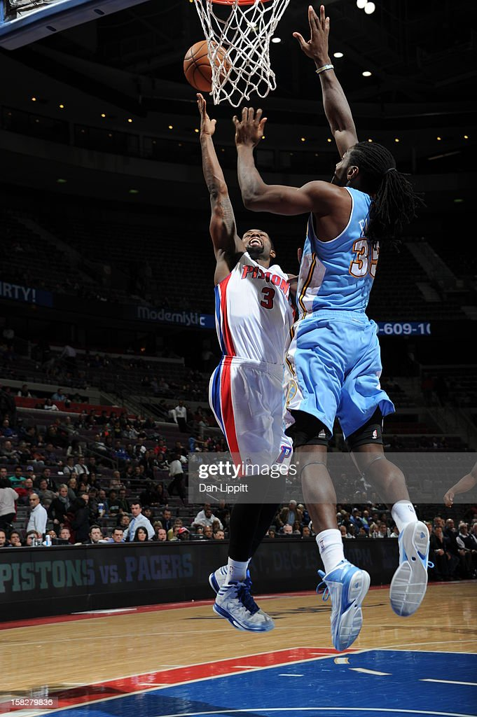 Rodney Stuckey #3 of the Detroit Pistons drives to the basket against the Denver Nuggets on December 11, 2012 at The Palace of Auburn Hills in Auburn Hills, Michigan.
