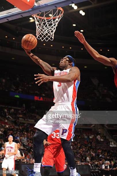 Rodney Stuckey of the Detroit Pistons goes to the basket during the game between the Detroit Pistons and the Philadelphia 76ers on April 26 2012 at...