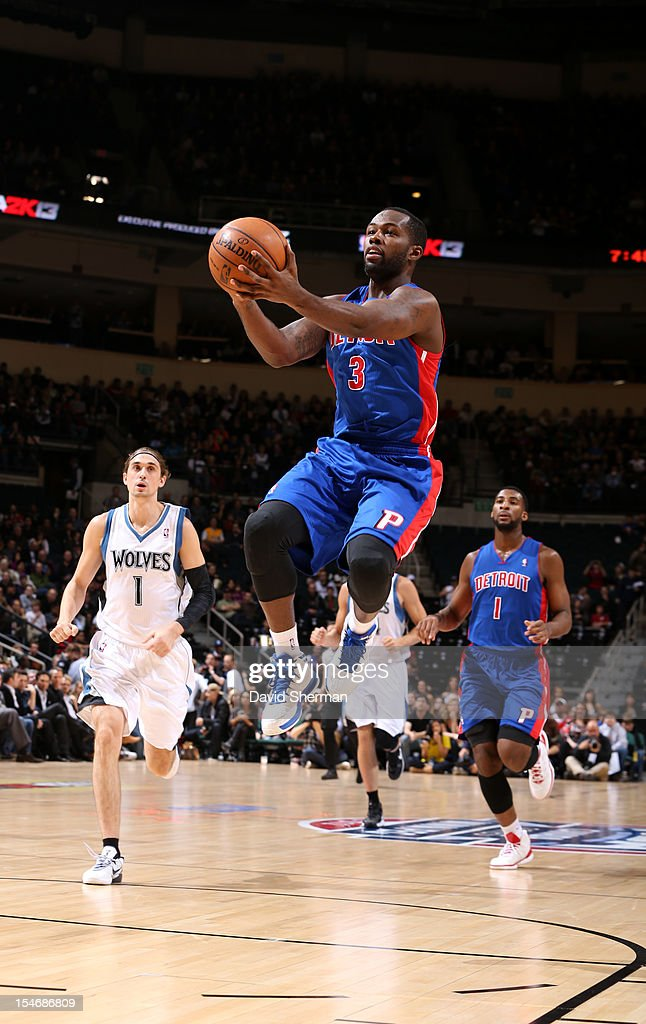 Rodney Stuckey #3 of the Detroit Pistons goes to the basket during the game between the Minnesota Timberwolves and the Detroit Pistons during the NBA preseason as part of NBA Canada Series 2012 on October 24, 2012 at the MTS Centre in Winnipeg, Manitoba, Canada.