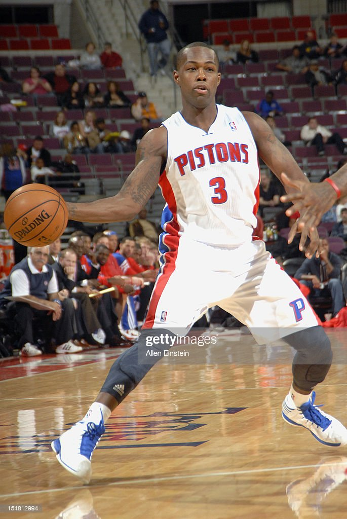 Rodney Stuckey #3 of the Detroit Pistons makes a pass against the Atlanta Hawks on October 26, 2012 at The Palace of Auburn Hills in Auburn Hills, Michigan.