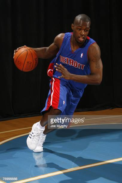 Rodney Stuckey of the Detroit Pistons poses for an action portrait during the 2007 NBA Rookie Photo Shoot on July 27, 2007 at the MSG Training...