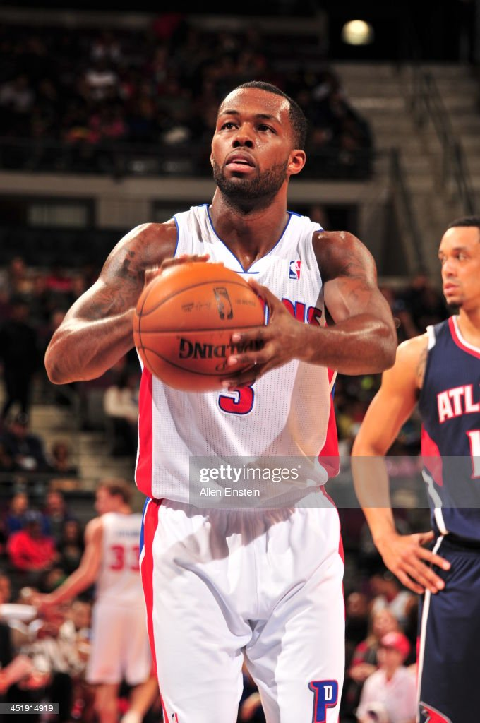Rodney Stuckey #3 of the Detroit Pistons shoots a free throw against the Atlanta Hawks on November 22, 2013 at The Palace of Auburn Hills in Auburn Hills, Michigan.