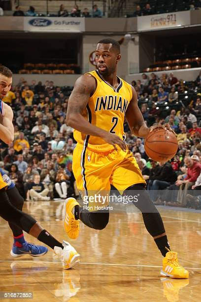 Rodney Stuckey of the Indiana Pacers drives against the Philadelphia 76ers during the game on March 21 2016 at Bankers Life Fieldhouse in...