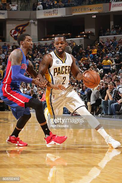 Rodney Stuckey of the Indiana Pacers drives to the basket against the Detroit Pistons on January 2 2016 at Bankers Life Fieldhouse in Indianapolis...