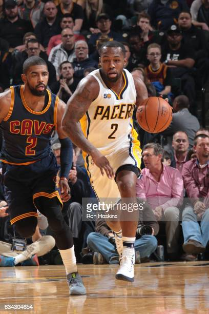Rodney Stuckey of the Indiana Pacers handles the ball against the Cleveland Cavaliers on February 8 2017 at Bankers Life Fieldhouse in Indianapolis...