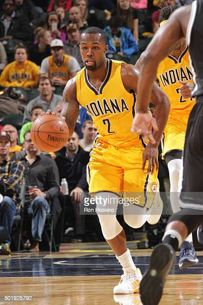 Rodney Stuckey of the Indiana Pacers handles the ball Brooklyn Nets on December 18 2015 at Bankers Life Fieldhouse in Indianapolis Indiana NOTE TO...