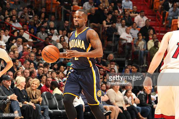Rodney Stuckey of the Indiana Pacers handles the ball during the game against the Miami Heat on January 4 2016 at AmericanAirlines Arena in Miami...