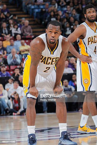 Rodney Stuckey of the Indiana Pacers looks on during the game against the Sacramento Kings on December 5 2014 at Sleep Train Arena in Sacramento...
