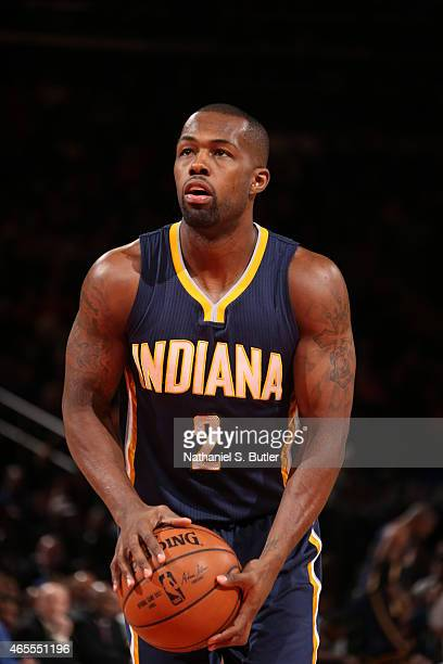 Rodney Stuckey of the Indiana Pacers prepares to shoot a free throw against the New York Knicks on March 7 2015 at Madison Square Garden in New York...
