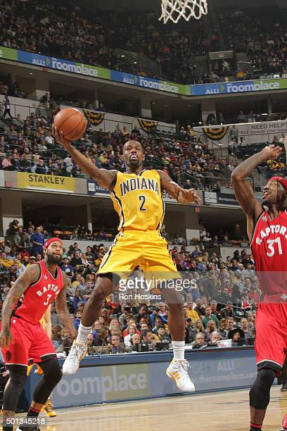 Rodney Stuckey of the Indiana Pacers shoots the ball against the Toronto Raptors on December 14 2015 at Bankers Life Fieldhouse in Indianapolis...
