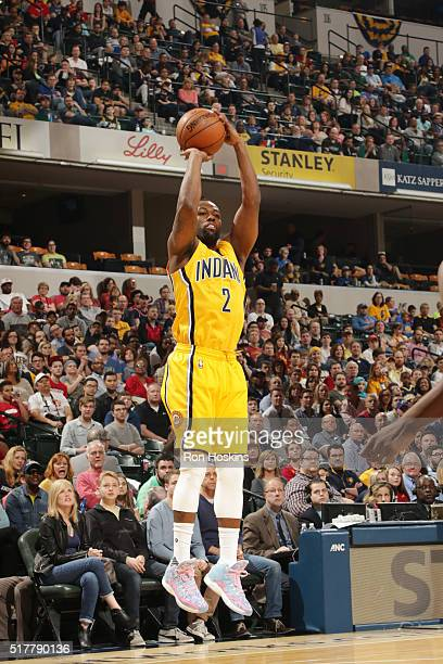 Rodney Stuckey of the Indiana Pacers shoots the ball against the Houston Rockets on March 27 2016 at Bankers Life Fieldhouse in Indianapolis Indiana...