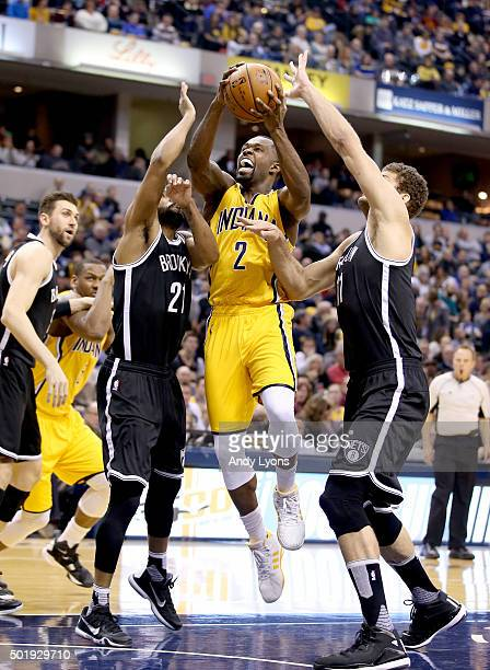 Rodney Stuckey of the Indiana Pacers shoots the ball against the Brooklyn Nets during the game at Bankers Life Fieldhouse on December 18 2015 in...